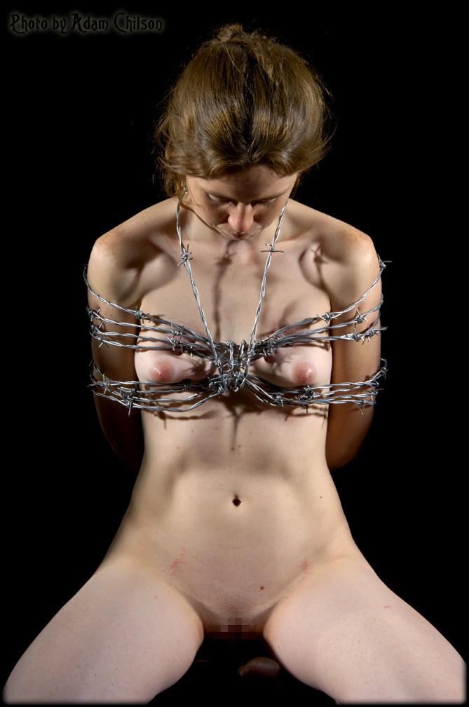 【閲覧注意】調教師「あ、ロープないわぁ…」→ 近所にあった有刺鉄線で縛ってみたでwwwwwwwwwwww(画像あり)・6枚目