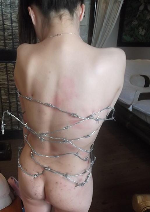 【※流血注意※】こういう変態プレイをしたがる女、有刺鉄線を使った調教画像をご覧ください(画像あり)・20枚目