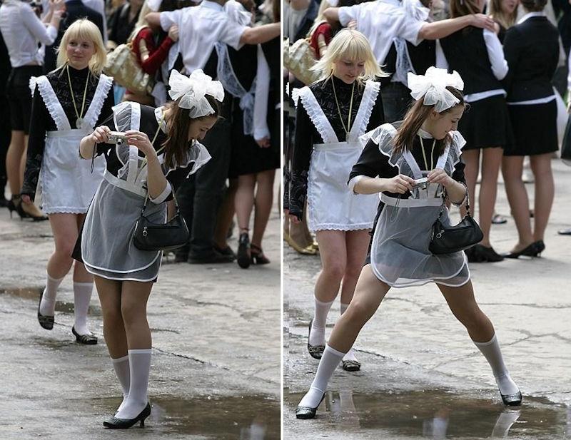 ロシアJKの卒業式…ミニスカのメイドだらけで盗撮する気持ちもわかるわwwwww(画像あり)・21枚目