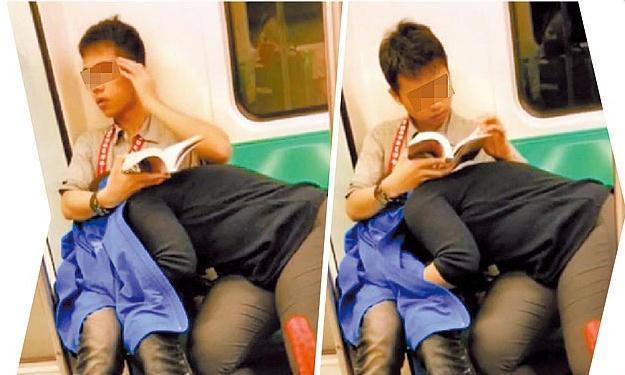 電車内で卑猥な事してる男女…日本のAV見過ぎじゃない?wwwww(画像あり)・6枚目